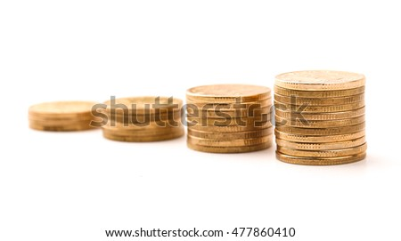 Growth coins isolated on the white background for business growth concept.