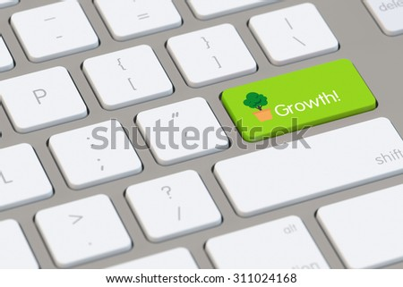 Growth concept on a computer keyboard with symbol of tree (3D Rendering) - stock photo