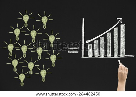 Growth concept on blackboard - stock photo