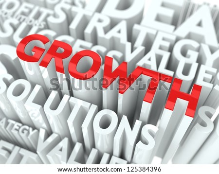 Growth Concept. The Word of Red Color Located over Text of White Color.