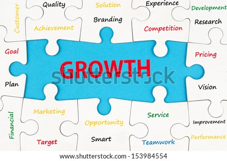 Growth concept words on group of jigsaw puzzle pieces - stock photo