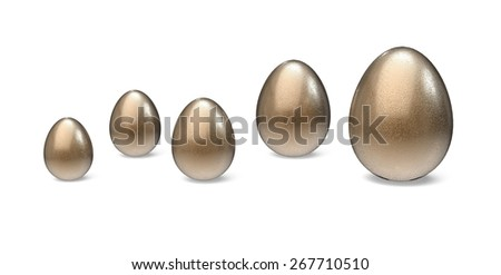 Growth. 3D. Egg Growth Graph - stock photo