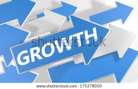 Growth 3d render concept with blue and white arrows flying over a white background. - stock photo