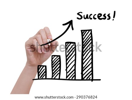 Growth  graph drawn by hand on a transparent board - stock photo