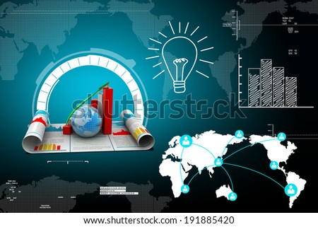 Growth graph with globe - stock photo