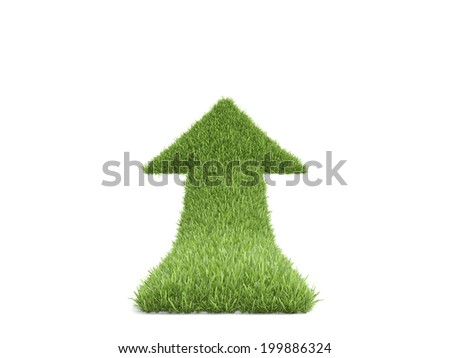 Growth grass arrow, isolated on white background - stock photo