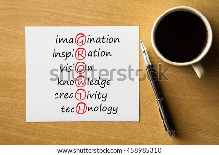 GROWTH imagination, inspiration, vision, knowledge, creativity, technology - handwriting on notebook with cup of coffee and pen, acronym business concept