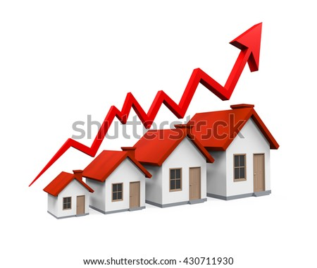 Growth in Real Estate Illustration. 3D rendering