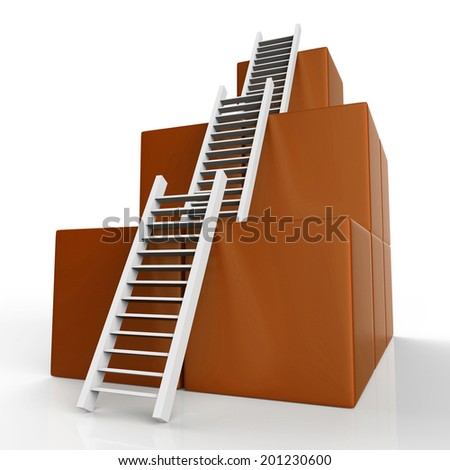 Growth Ladder Meaning Step Expand And Victors - stock photo