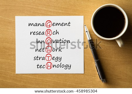 GROWTH management, research, innovation, network, strategy, technology - handwriting on notebook with cup of coffee and pen, acronym business concept