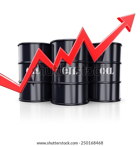 Growth oil price. Red arrow graph chart moving rise up near the barrels with oil. 3d illustration - stock photo