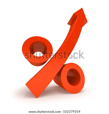 Growth Percentage Sign, Isolated On White. - stock photo