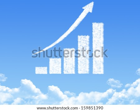 growth progress arrow graph cloud shape - stock photo