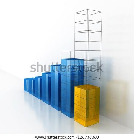 Growth & Progress Business Bar Chart Project - stock photo