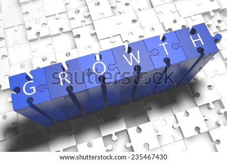 Growth - puzzle 3d render illustration with block letters on blue jigsaw pieces  - stock photo