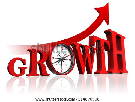growth red word with compass and arrow on white background. clipping path included