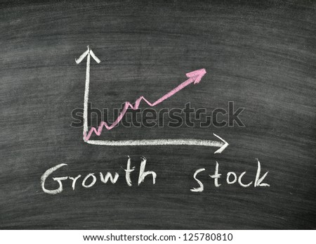 growth stock and business graph on blackboard