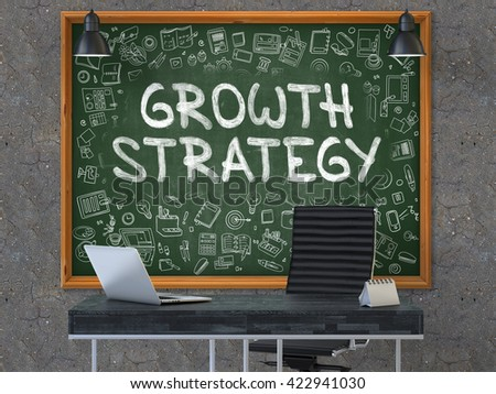Growth Strategy Concept Handwritten on Green Chalkboard with Doodle Icons. Office Interior with Modern Workplace. Dark Old Concrete Wall Background. 3D. - stock photo