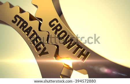Growth Strategy on Mechanism of Golden Metallic Gears. Growth Strategy on the Mechanism of Golden Cogwheels with Lens Flare. Growth Strategy - Illustration with Glowing Light Effect. 3D. - stock photo
