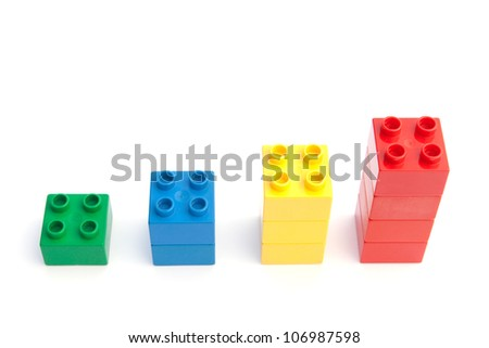 Growth, success, rise of income shown on a graph of plastic blocks - stock photo