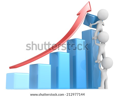Growth. The dude x 3 helping increase blue bar diagram. Red arrow. - stock photo