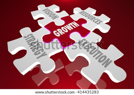Growth Vision Strategy Execution Puzzle Pieces Words 3d Illustration
