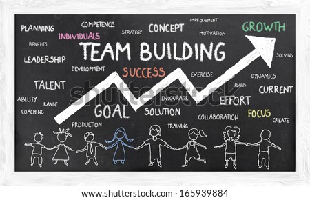 Growth with Team Building on Blackboard - stock photo