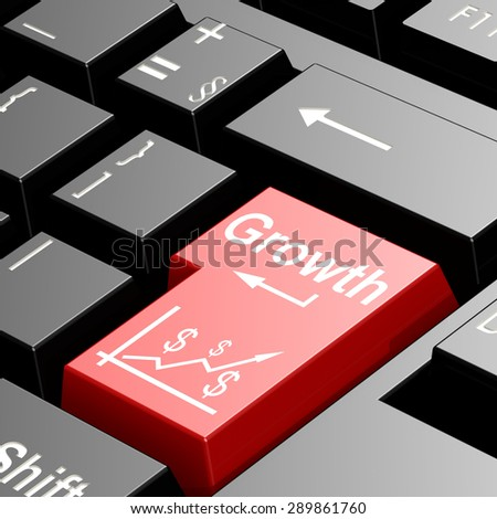 Growth word on red keyboard image with hi-res rendered artwork that could be used for any graphic design. - stock photo