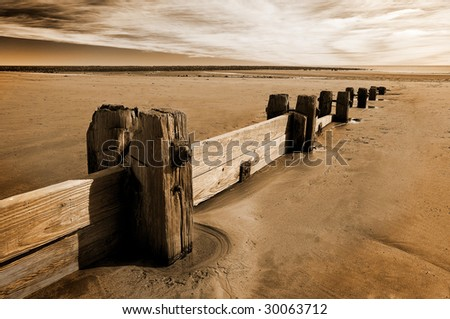 Groynes (Sea defences) on Alnmounth beach, Northumberland, UK