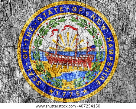 Grudge stone painted US New Hampshire seal flag