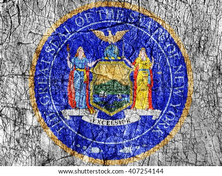 Grudge stone painted US New York seal flag