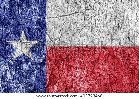 Grudge stone painted US Texas flag - stock photo