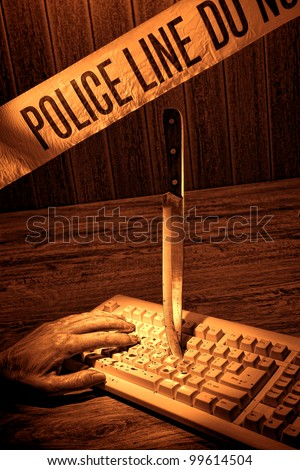 Gruesome forensic criminal violent murder crime scene with dead victim woman hand and knife weapon evidence into computer keyboard with blood splatter under police line CSI tape in rough grunge sepia - stock photo