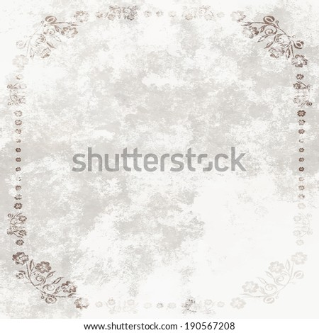 Grundge White Sheet of paper with floral frame - stock photo