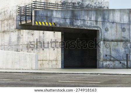 Grunge abandoned exterior near a road. Photo realistic rendering