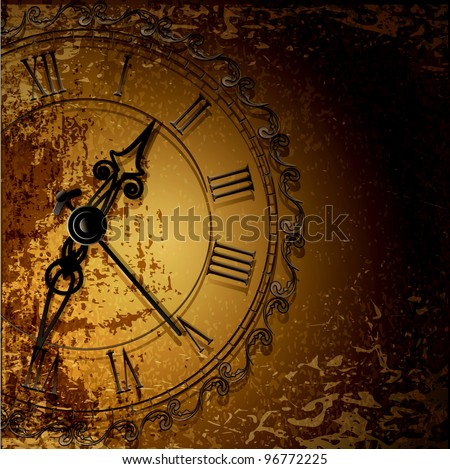 grunge abstract background with antique clocks - stock photo