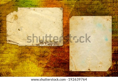 Grunge abstract paper background with old photo and handwrite text for design - stock photo