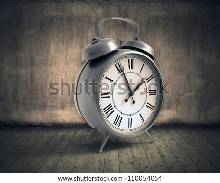 Grunge abstract room with a vintage alarm clock - stock photo