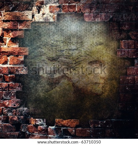 Grunge abstract wall with face - stock photo