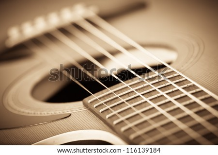 grunge acoustic guitar - stock photo
