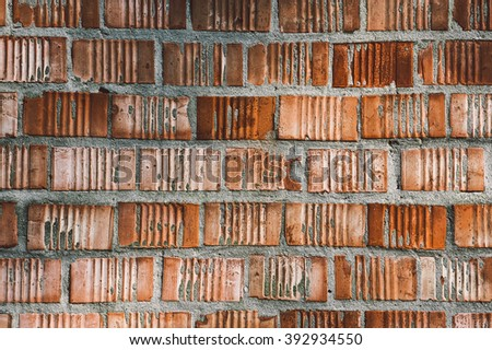 Grunge aged and weathered red brick wall surface texture as background image