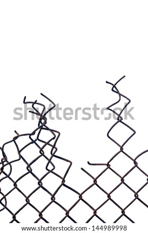 Grunge aged weathered crushed rusty wire security fence isolated, vertical copy space - stock photo
