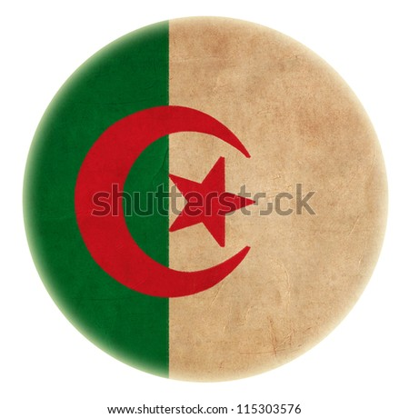 grunge Algeria flag drawing button