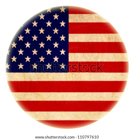 grunge America flag drawing button - stock photo