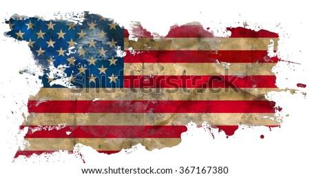 Grunge american flag isolated on white background - stock photo