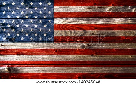 Grunge american flag with wooden texture - stock photo