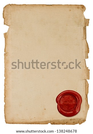 grunge antique paper sheet with red wax seal isolated on white background - stock photo