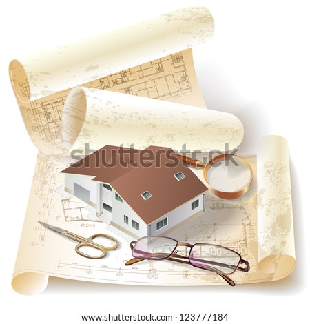Grunge architectural background with a 3d building model and rolls of drawings. Raster version. - stock photo