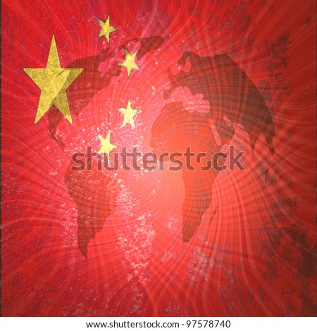 Grunge  artwork flag of China on world map background - stock photo