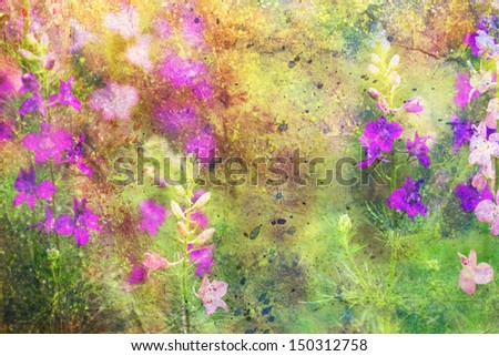 grunge artwork with beautiful flowers and colorful watercolor smudges - stock photo